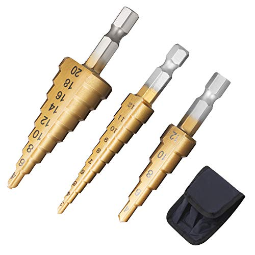 SUI-lim 3PCS HSS Step Bits Step Cone Drill Bit Set High Speed Steel Titanium Coated (3-12mm, 4-12mm and 4-20 mm) Hex Shank Metric Quick Change for DIY Plastic Wood Metal Aluminum Copper