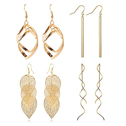 FAUOI 18k Gold Plated Dangle Earrings Set Metal Geometric Bar Earrings Long Leaves Tassel Threader Earrings Set for Women (4PC)