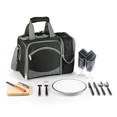 Picnic Time Malibu Insulated Cooler Picnic Tote with Service for 2, Black with Silver Grey