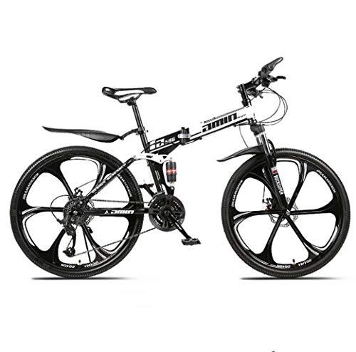 Mountain Bike Vouwfietsen, 26Inch 24-Speed Double Disc Brake Front Suspension Anti-Slip, Lichtgewicht Aluminium Frame, Verende Voorvork,White,C
