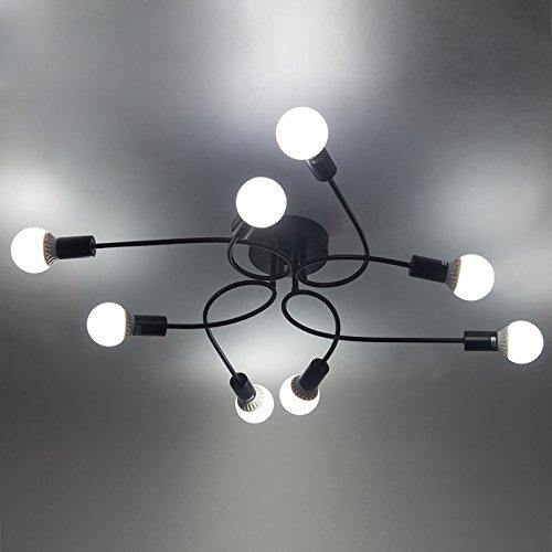 Baycheer portalampada lampada industriale da tavolo lampada da soffitto plafoniera in ferro battuto 8 bracci lampadari, lampada a sospensione. Retro 8 lampen-1