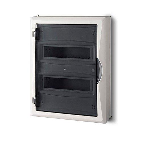 Sicherungskasten Kleinverteiler IP40 Aufputz 24 Module 2-reihig inkl. Hutschiene und PE-/N-Klemmen Control LUX-PLUS