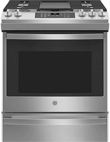 GE JGS760SPSS 30 Inch Slide-In Gas Range with 5 Sealed Burners, 5.3 Cu. Ft. Convection Oven, No Preheat Air Fry, 18,000 BTU Power Boil Burner, ADA Compliant, and Star-K Certified: Stainless Steel
