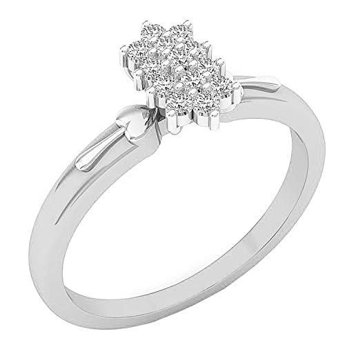 Dazzlingrock Collection Anillo de compromiso con diamante blanco redondo de 0,15 quilates (quilates), disponible en metal de oro de 10 K/14 K/18 K