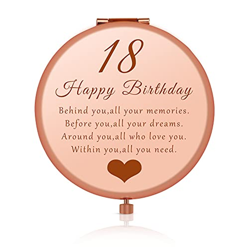 18th Happy Birthday Gift for Daughter Niece Sister Best Friends, Coming of Age Gift for Girls, 18 Year Old Girl Birthday Gift, Rose Gold Purse Pocket Makeup Compact Mirror for Her