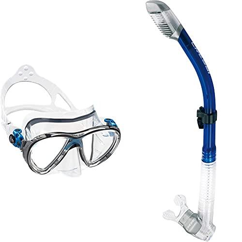 Cressi Big Eyes Evolution Gafas de Buceo + Dry Tubos respiradores, Unisex, Multicolor (Transparente/Azul Ink), Talla única