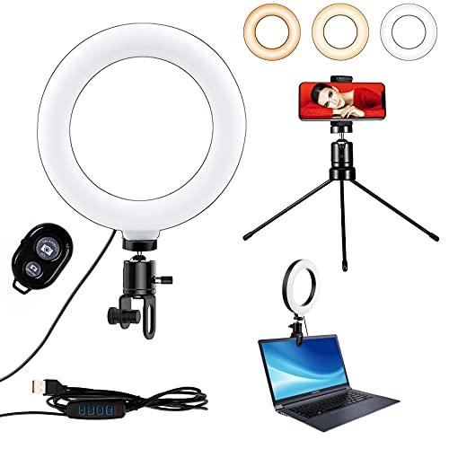 Swonuk - Anillo de luz LED para selfie con trípode y soporte para teléfono móvil, luz regulable para maquillaje, YouTube, Tiktok, transmisión en directo, fotografía
