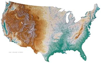 United States Topographic Wall Map by Raven Maps, Printed on Paper