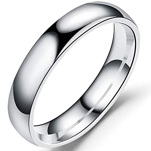 4mm Stainless Steel Classical Simple Plain Dome Style Wedding Band Ring (Silver, 9)