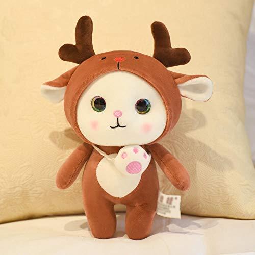 Pluche Pop Schattige knuffel kat pop kitten pop naar beneden katoenen pop, paar cadeau baby spelen met knuffels-koffie kleur eland _25cm