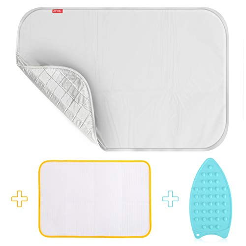 Upgraded Thick Ironing blanket,Travel Ironing Mat Ironing Pad,Portable Double-Side Using,Isolate Heat Pad Cover for Washer,Dryer,Table Top,Countertop,Ironing Board for Small Space (28 x 31 inch)