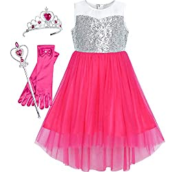 Watermelon Red Set With Sequin & Mesh Princess Tulle Dress