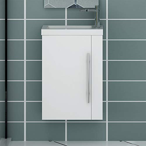 Xinyang Meuble sous Vasque Moderne, Meuble Lave-Mains à Suspendre avec lavabo, Meuble de Rangement avec Une Porte et 2 étagères 45cm / Blanc