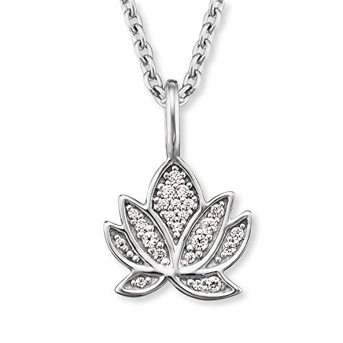 Engelsrufer - Damen Halskette aus 925 Sterlingsilber mit Lotusblüte Anhänger & Zirkonia Edelsteinen, Frauen Silberkette mit Lotus Blüten Kettenanhänger & Steinen