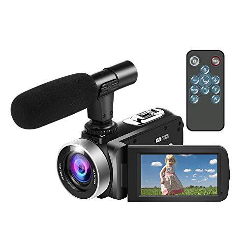 Videocamera Full HD 1080P 24MP 18X potente zoom digitale anti-shake con microfono e telecomando wireless