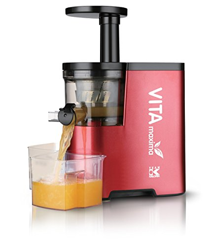 Team Kalorik Extracteur de jus avec Récipients de 500 ml, Pour Fruits et Légumes, 1 Brosse de nettoyage, 150 W, Rouge/Noir, TKG FE 1010 R