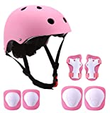 SZHZS Adjustable Toddler Kids Helmet for Ages 3-8 Years Boys Girls, Sports Protective Gear Set Knee Elbow Pads Wrist Guards Pink for Skateboard Bike Roller Skating Cycling Scooter Hiking Hoverboard