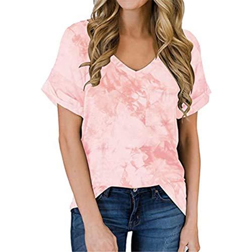 LYAZFC Camiseta Suelta de Manga Corta con Bolsillo con Cuello en V Multicolor para Primavera y Verano para Mujer