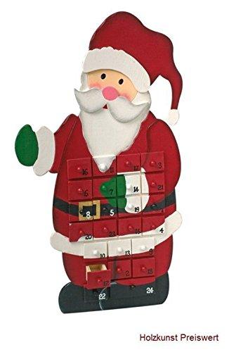 'LD decorazioni di Natale Calendario dell' Avvento 'Babbo Natale in legno per bambini Natale Calendario stesso riempimento