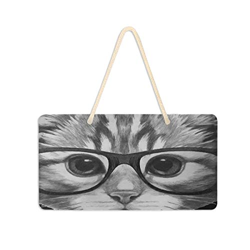 SLHFPX Open Door Welcome Sign Cat with Glasses and Bow Tie Custom Rectangle Wall Hanging Plaque Message Sign Porch Decoration Outdoor Indoor Board Decor for Home Office Spa Use