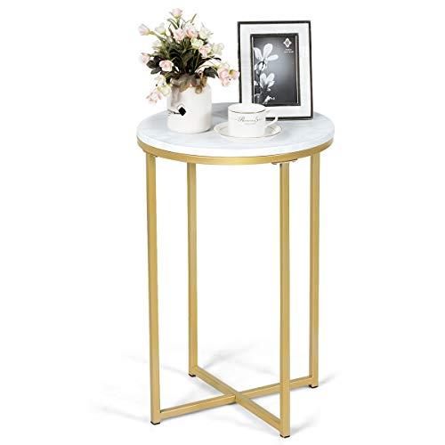 GOPLUS Runde Sofatisch, Moderner Couchtisch, Beistelltisch mit Gestel, Eleganter Nachttisch mit Marmormuster, Goldfarbener Eisenrahmen, Coffeetable für Wohnzimmer Schlafzimmer Esszimmer Balkon