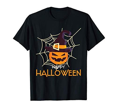 Camisa de cara de calabaza Spider Web Halloween Camiseta