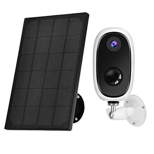 Zeetopin Überwachungskamera Akku mit Solarpanel,1080P Kabellos WLAN Kamera Akku Outdoor mit PIR-Bewegungserkennung,2-Wege-Audio,Nachtsicht,integrierter SD-Steckplatz,IP65 wasserdichte