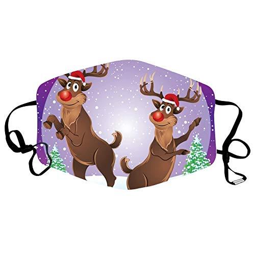 NN/A Weihnachten Mundschutz mit Elch Motive Erwachsene Mund und Nasenschutz