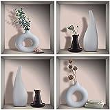 4 pegatinas de pared 3D para jarrones y jarrones para decoración de pared de salón, adhesivo de pared de hoja verde, pared de 3D de jarrones de salón, DIY extraíbles, vinilo adhesivo, 30 x 30 cm