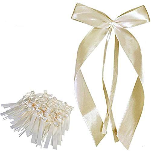 [50 Stück] Ouinee Autoschleifen Hochzeit Pew Ende Bowknots Ribbon Bögen Autos Stühle Dekorationen (Ivory)