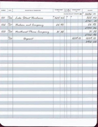 "Large Format Check Registers for Deskbook Checks, 6 x 8"" Pack of 5 registers -"