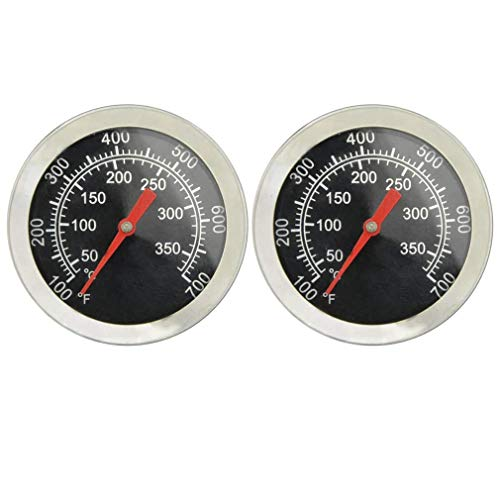 """onlyfire Professional BBQ Charcoal Smoker Gas Grill Char-Grillers Dia 2"""" Thermometer (2-Pack) Temperature Gauge"""