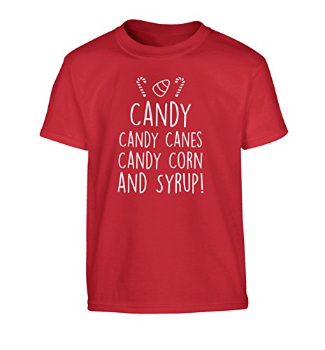 Candy Canes Candy Corn und Sirup Kinder-T-Shirt, Alter 3-4 12-14 Gr. 9-11 Jahre, rot