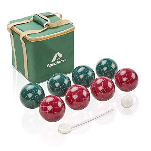 ApudArmis 107mm Bocce Balls Set, Outdoor Tournament Bocce Game for Backyard/Lawn/Beach - Set of 8 Poly-Resin Balls & 1 Pallino & Nylon Carrying Case & Measuring Rope (Red and Green)