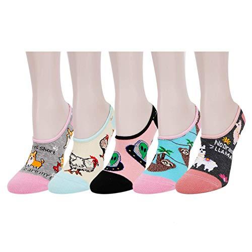 Zmart Damen-Socken, 5 Stück, niedrig geschnitten, rutschfest, flach, Bootslinie, Geschenke - - Medium