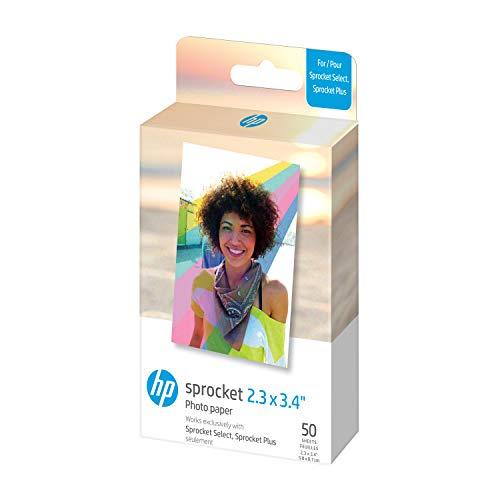 HP Zębatka 5.8 x 8.7 cm Premium Zink Sticky Back Papier Fotograficzny (50 Arkuszy) Kompatybilny z HP Sprocket Select i drukarkami Plus