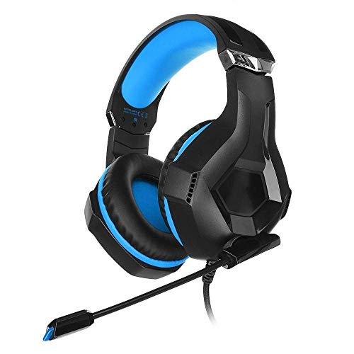 Gaming-Headset Hervorragendes kabelgebundenes LED-RGB-Shock-Bass-kabelgebundenes Mikrofon Gaming-Headset für PS3 PS4 ONE PC Xbox (Farbe: Blau Größe: M)
