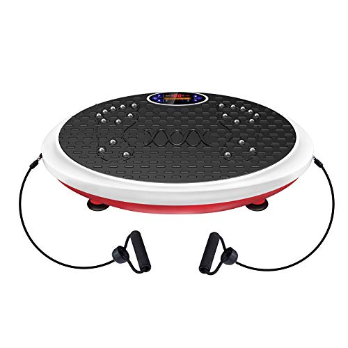 Real Relax Vibration Plate Exercise Machine Whole Body Workout for Home Strenuous Exercise for Weight Loss & Toning with Resistance Band, Remote Control and Support 330Ibs, Red & White
