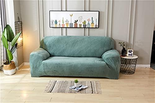 LIWENFU Cubierta del sofá Cubierta de sofá elástica de Felpa Gruesa para la Sala de Estar Muebles de Esquina combinada 1/2/3/4 Seat Color sólido para niños, Tela de Jacquard Spandex Cheques pequeños