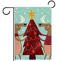 ウェルカムガーデンフラッグ(12x18inch)両面垂直ヤード屋外装飾,クリスマスツリーとトナカイ