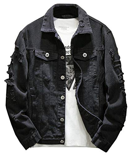 Kedera Distressed Denim Jacket Men's Button Down Denim Jacket Trucker Jean Coat