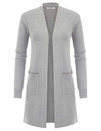 GRACE KARIN Women's Open Front Cardigan Sweater Long Sleeve Knit Sweater Coat(L,Light Grey)