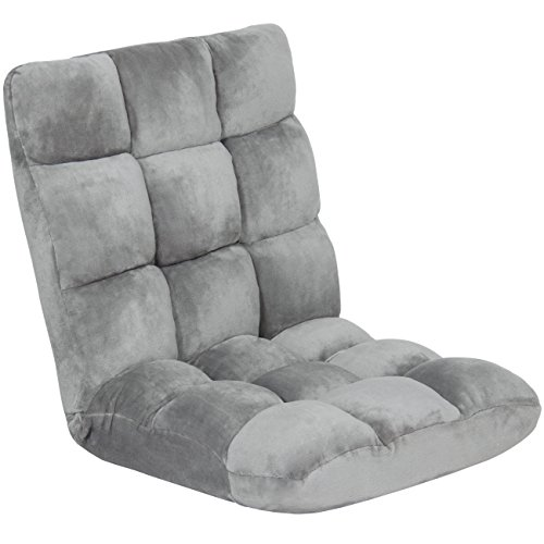 Best Choice Products 14-Position Folding Adjustable Memory Foam Cushioned Padded Gaming Floor Sofa Chair - Gray