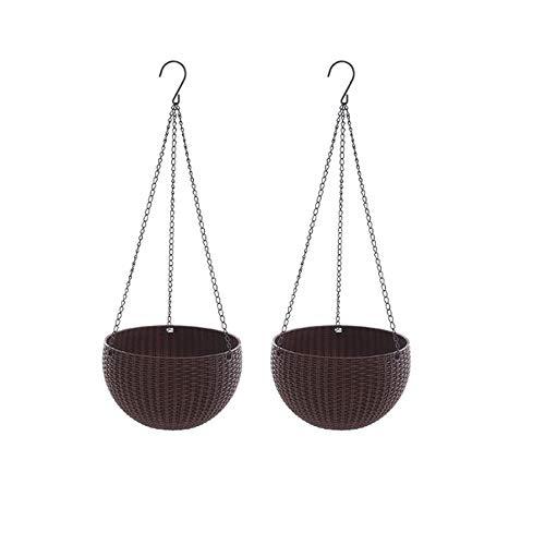 Cratone Juego de 2 macetas colgantes con autorriego, para colgar, aspecto de ratán, plástico, redondas, para interiores y exteriores, color marrón