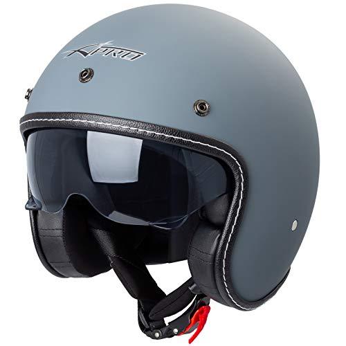 Motorrad Jet Helm Cafe Racer ECE 22-05 Sonnenblende Scooter Matt Grau L