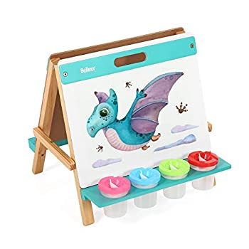 Belleur Tabletop Kids  Wooden Foldable Easel with 1 Paper Roll Double-Sided Whiteboard and Chalkboard 4 Paint Pots for 3-5 Years Old Toddlers Birthday&Christmas Gifts for Children