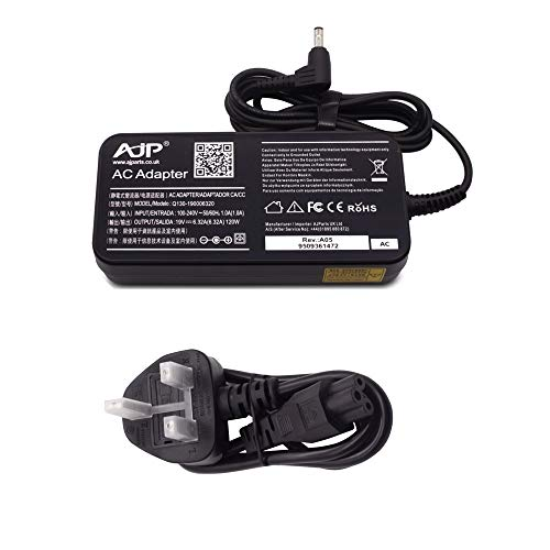 Wikiparts* New 120W 19V 6.32A Laptop Charger Replacement for Toshiba Qosmio F750-047, F750-048, F750-049, F750-050, F750-051, F750-052 Slim Type Power Supply Ac Adapter with UK Power Cord