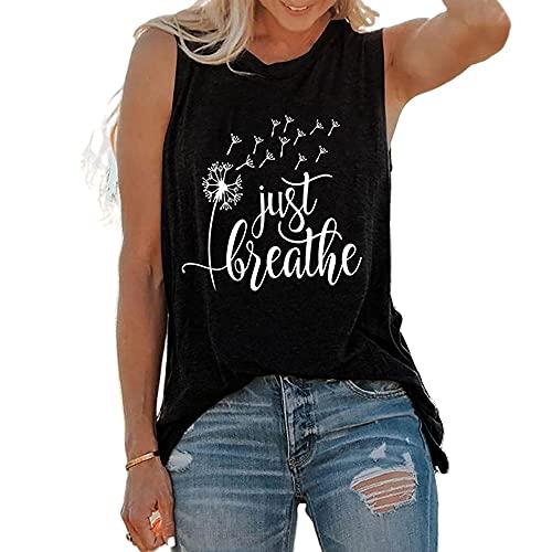 Camiseta Sin Mangas Mujer Tops Mujer Cómodo Suelto Moda Floral Estampado Sin Mangas Top Verano Playa Vacaciones Ocio Luz Fresca Mujer Camisa C-Black L