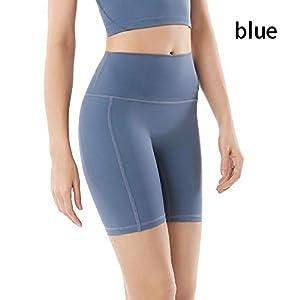 BDN Pantalón Deportivo de Mujer,Pantalones Deportivos de Cintura Alta para Mujer, Pantalones Cortos de Yoga elásticos, Pantalones Deportivos Transpirables de Secado rápido-Azul_L