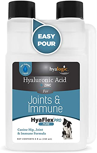 Hyalogic Canine HA + Zinc for Joint & Immune Support  HyaFlex Pro Pure 8 Ounce  30-60 Day Supply  Liquid Hyaluronic Acid Dog Supplement